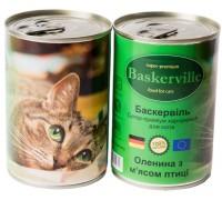 Консервований корм супер-преміум класу для котів Baskerville, (Німеччина) Оленина з м`ясом курки  200 г.
