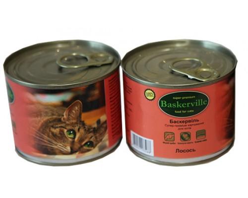 Консервований корм супер-преміум класу для котів Baskerville, (Німеччина) Лосось 200 г.