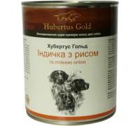 Консервований корм супер-преміум класу для собак Hubertus Gold, (Німеччина) Індичка та рис з лляною олією 800 г.