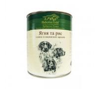 Консервований корм супер-преміум класу для собак Hubertus Gold Ягня та рис з олією із зародків пшеничного зерна 800 г.